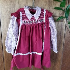Vintage Red Handsmoked Embroidered Dress